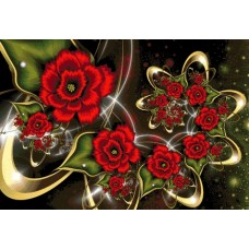 Абстрактни червени цветя